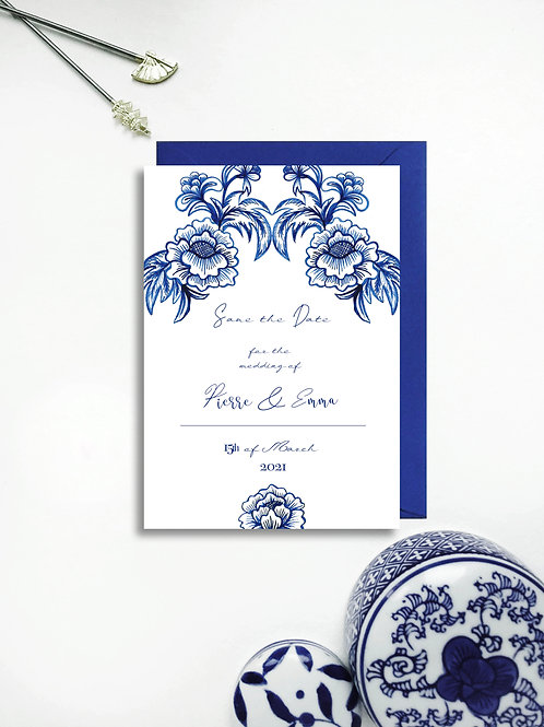 Chinoiserie  Blue Save the Date