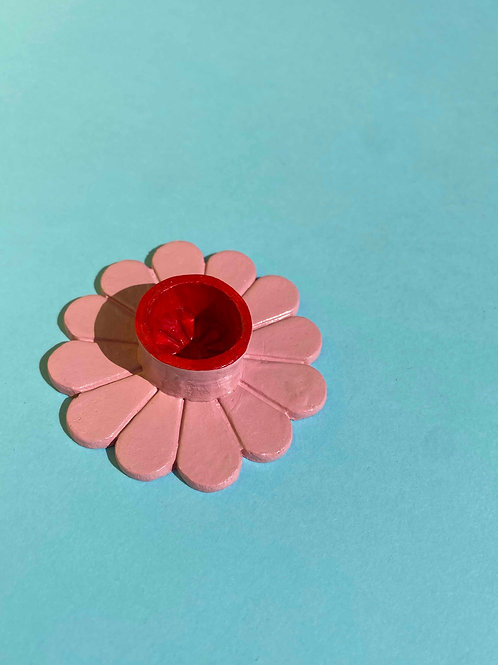 Pink & red daisy candle holder
