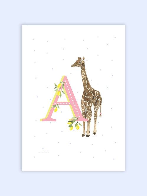 Baby giraffe letter print