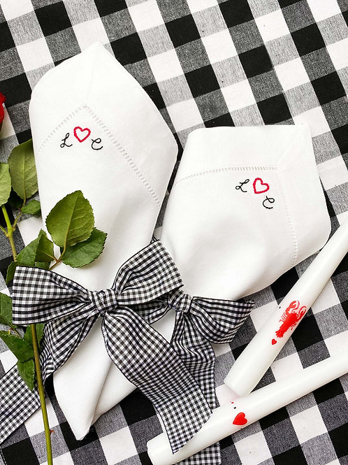 Lockdown lovers personalised embroidered dining set & 2 candles