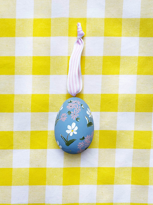 Hand painted blue ceramic egg
