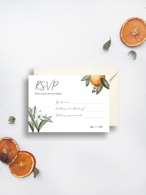 Valencian Orange rsvp card