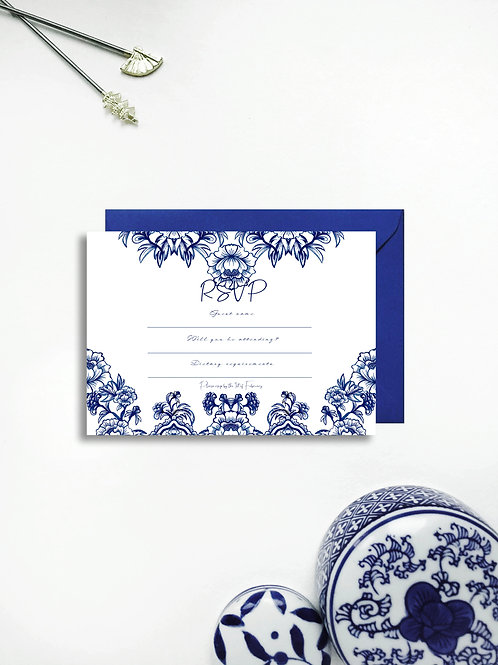 Chinoiserie Blue rsvp card