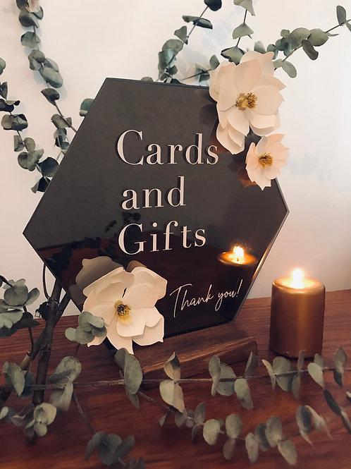 Modern Magnolia hexagon mirror sign