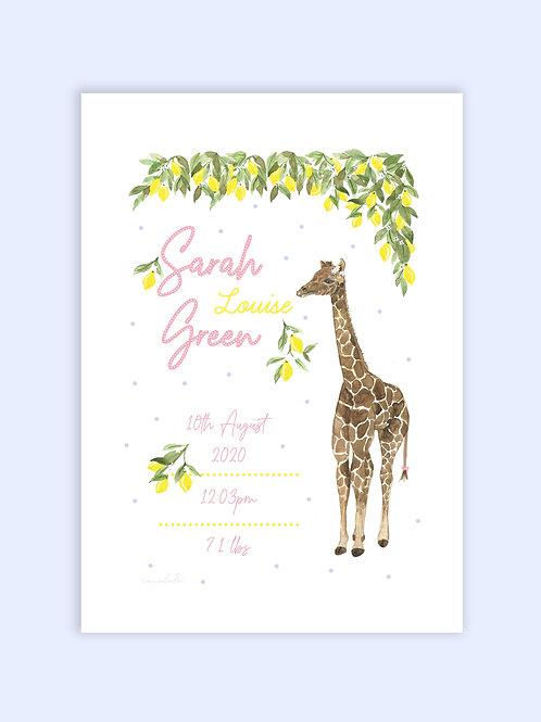 Baby giraffe birth print