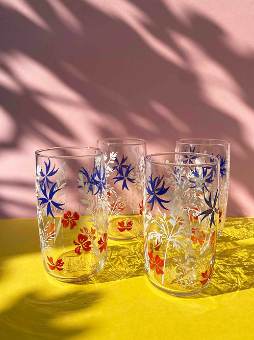 Tropical royal blue & red floral set of 4
