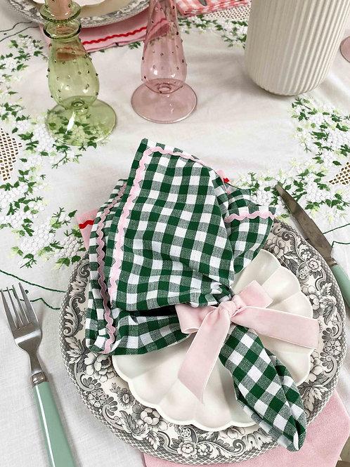 Green gingham & pink ric-rac napkin set of 2