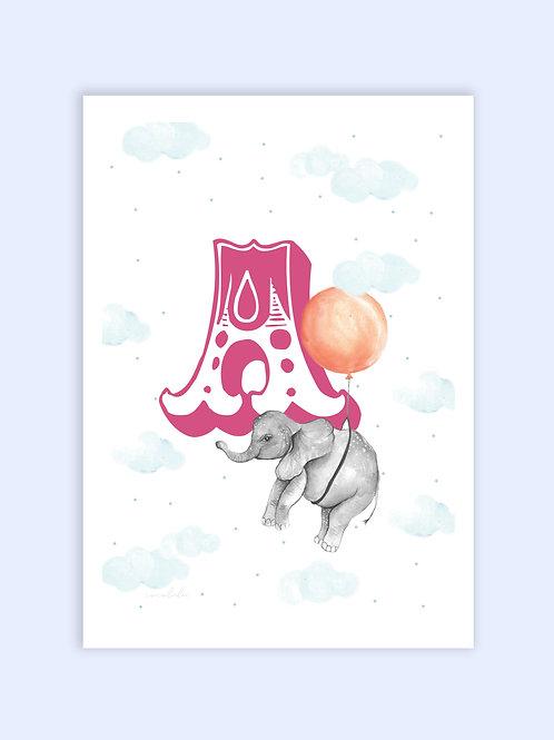 Baby elephant circus letter print