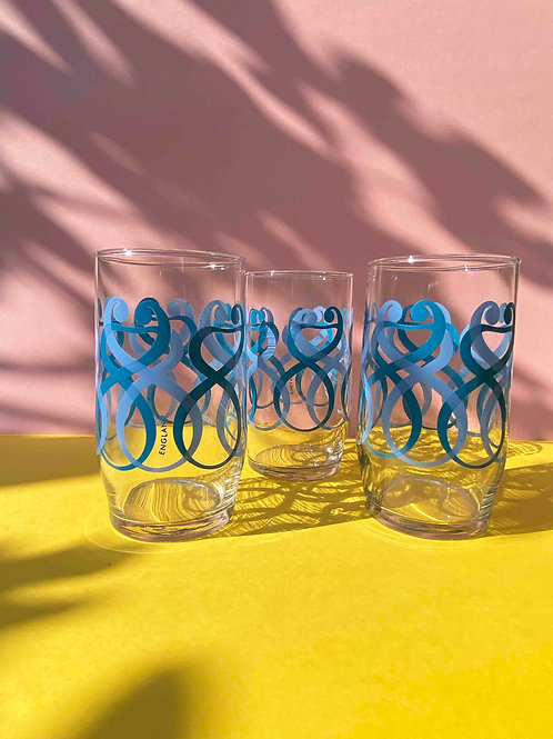 Blue art deco set of 3