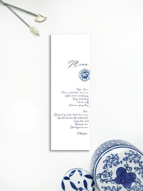 Chinoiserie Blue menu