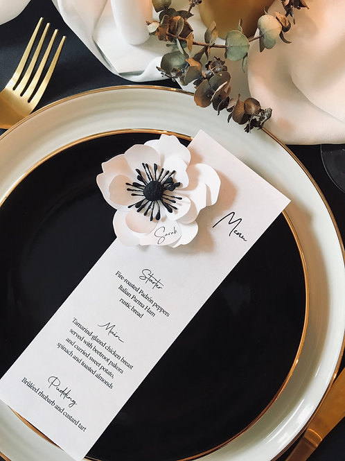 Anemone menu with optional handmade paper flower