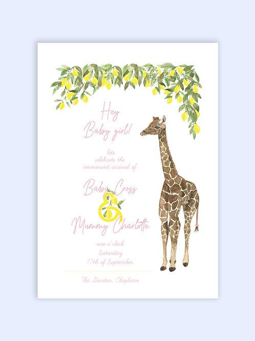 Baby Giraffe Baby shower invite