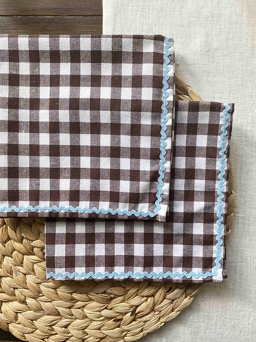 Chocolate gingham & duckegg blue ric-rac napkin set of 2