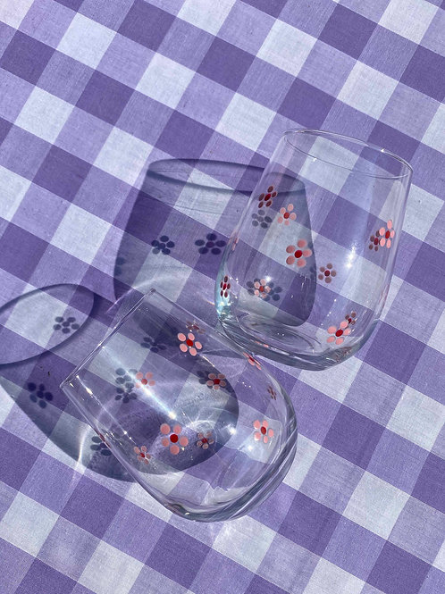 Pink & Red daisy stemless wine glasses set of 2