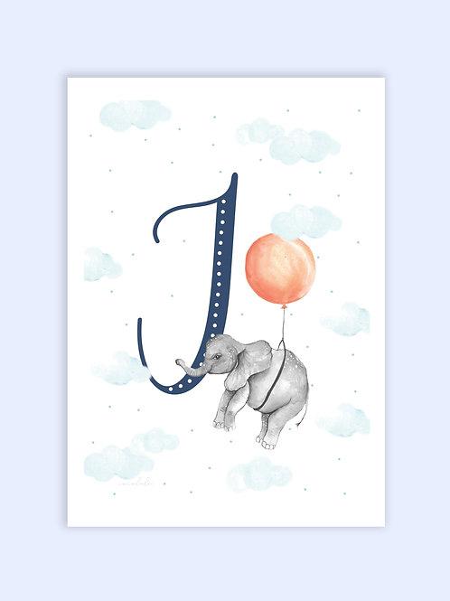 Baby elephant fancy letter print