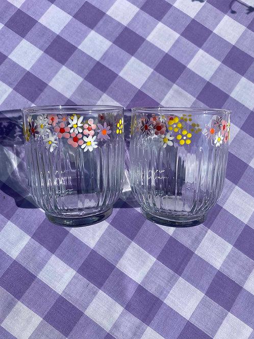 Wild flower ribbed tumbler glasses set of 2