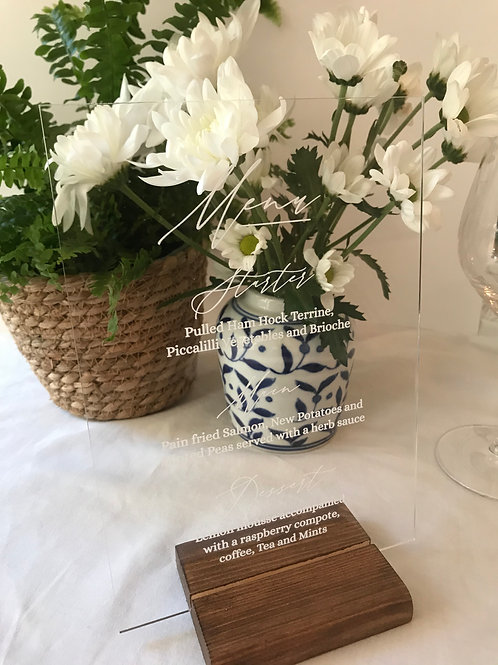 Chinoiserie Blue acrylic menu