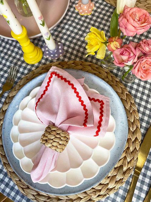 Pink & red ric-rac napkin set of 2
