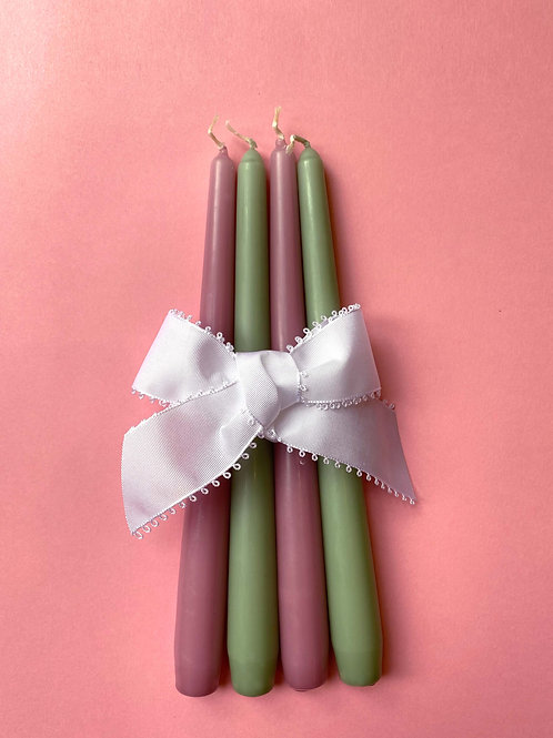 Sage green & Orchid purple tapered dinner candles