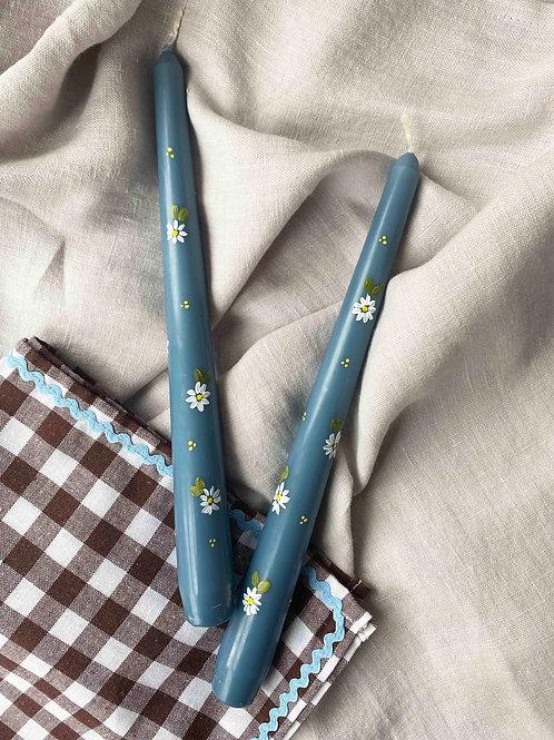 Duck egg blue daisies (x1)