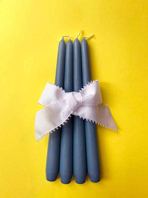 Duck egg blue tapered dinner candles