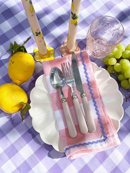 Coral gingham & lilac ric-rac napkin set of 2
