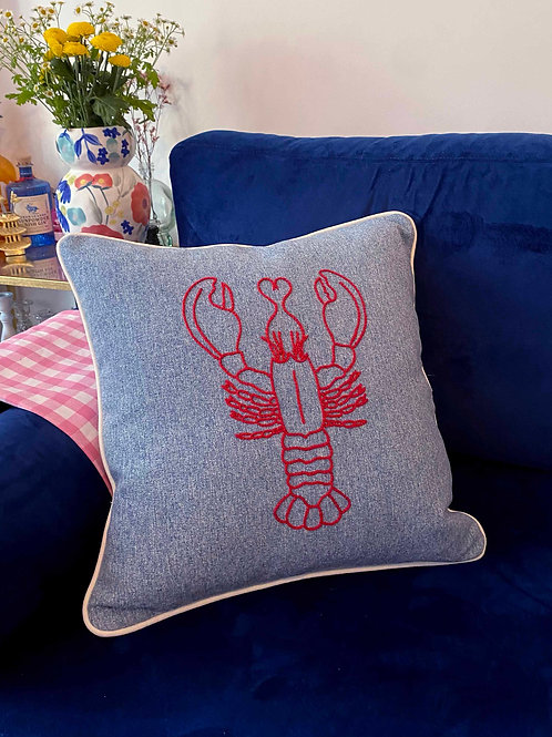 Hand embroidered Lobster cushion cover