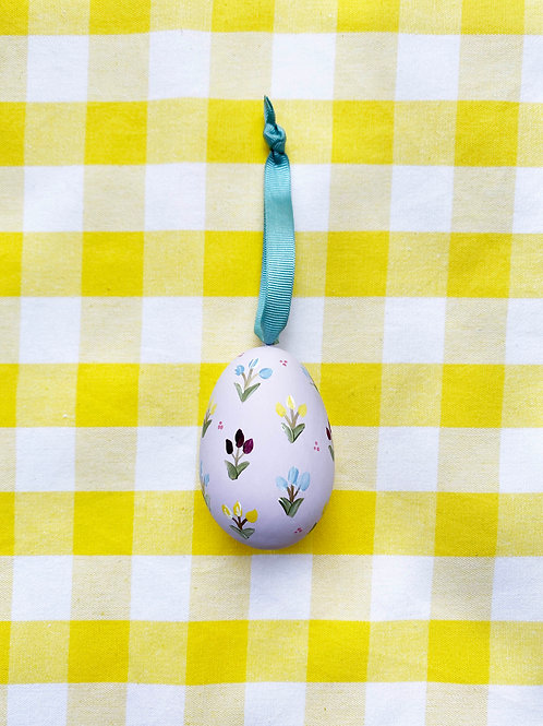 Hand painted lilac ceramic egg