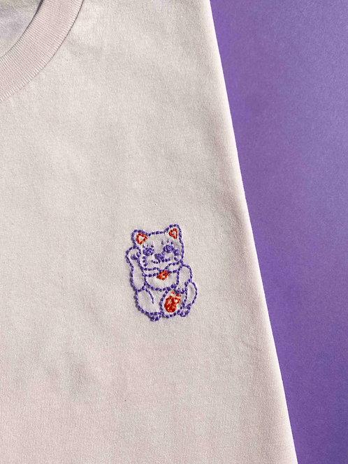 Lucky cat pale pink organic cotton T-shirt