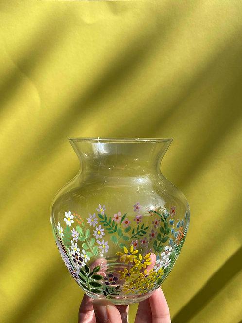 Wild flower vintage mini fat vase