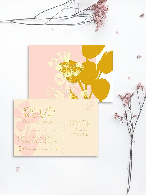 Tracing Tulips rsvp postcard