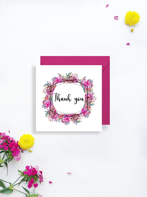 Bold Blooms thank you card
