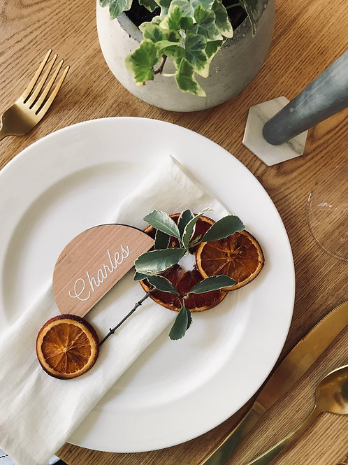 Valencian Orange Halfmoon timber table place set