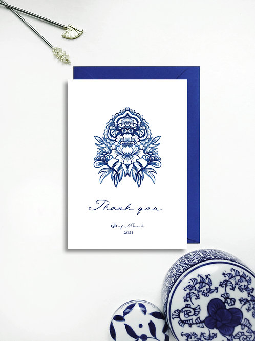 Chinoiserie Blue thank you card
