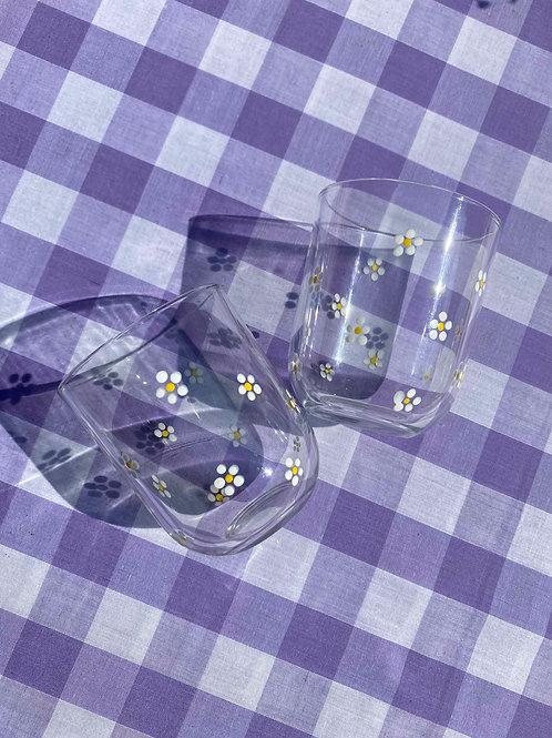 Vintage daisy glasses set of 2