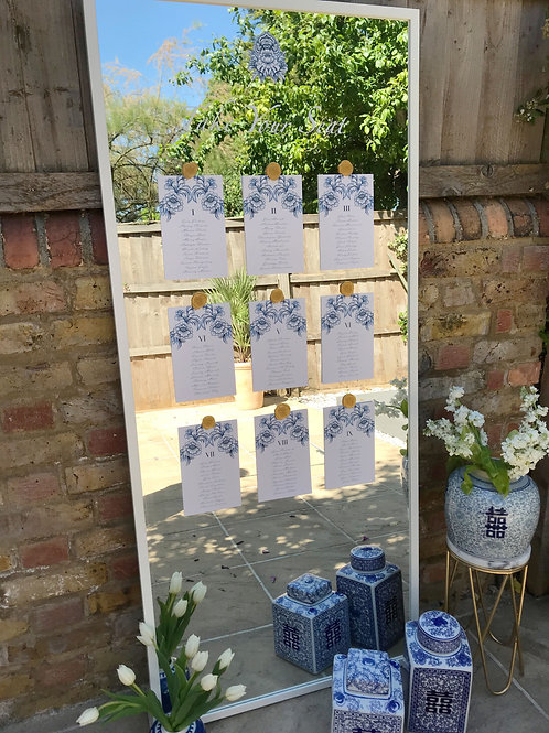Chinoiserie Blue table plan set