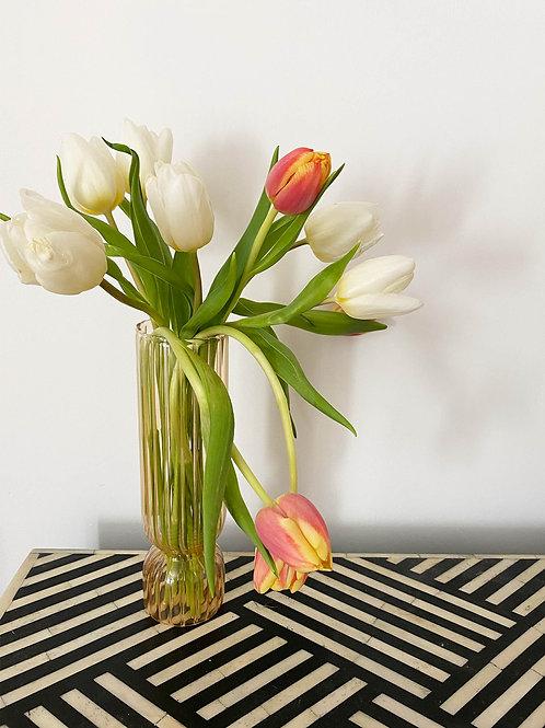 Orange tinted ribbed glass vase