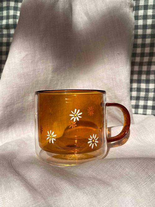 Hand painted amber daisy mug
