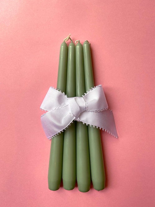 Sage green tapered dinner candles
