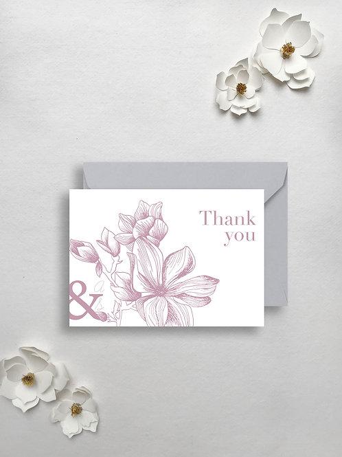 Modern Magnolia Thank you card