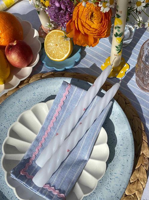 Blue striped & pink ric-rac napkin set of 2