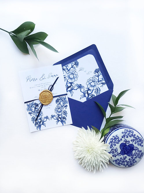 Chinoiserie Blue wax seal and satin ribbon wrap