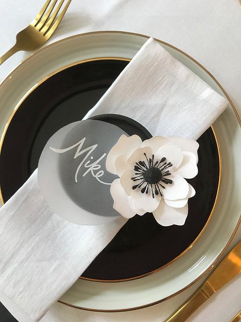 Anemone handmade paper flower and vellum name card