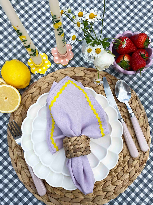 Lilac & yellow ric-rac napkin set of 2