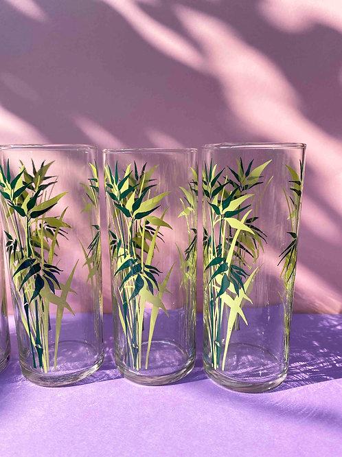 Green bamboo set of 5