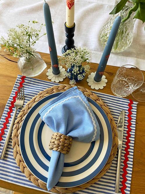 Baby blue & white ric-rac napkin set of 2