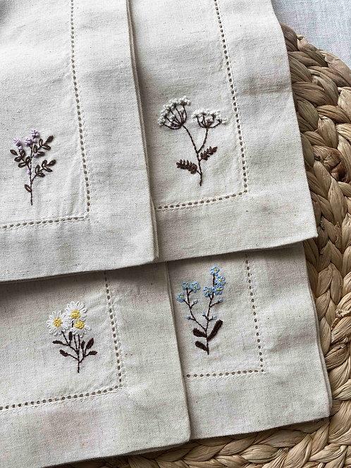 Hand embroidered wild flower napkins