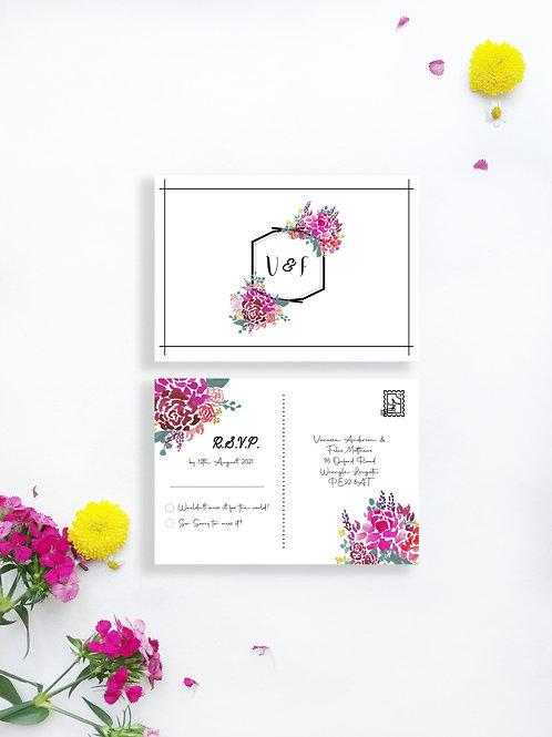 Bold Blooms RSVP postcard