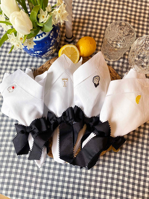 Hand embroidered fruits de mer napkins