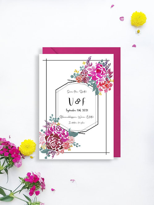 Bold Blooms Save the Date